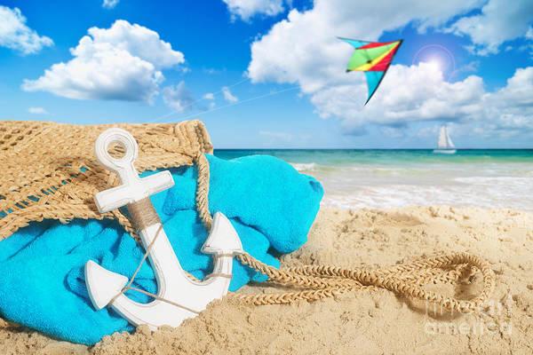 Flying Kite Photograph - Beach Bag by Amanda Elwell