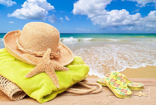 Flip Flops Photograph - Beach Bag With Sun Hat by Amanda Elwell