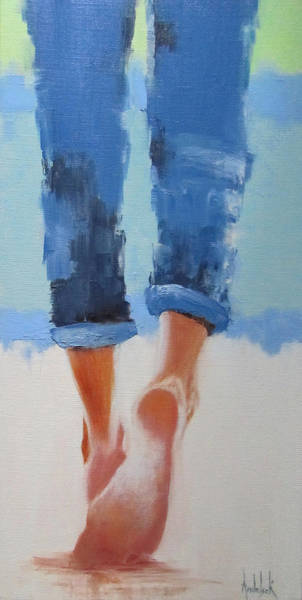 Abstract People Painting - Beach Ballet by Barbara Andolsek