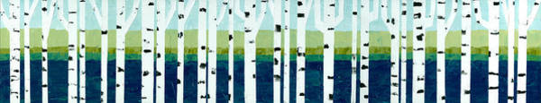 Painting - Beach Birches Pano by Michelle Calkins