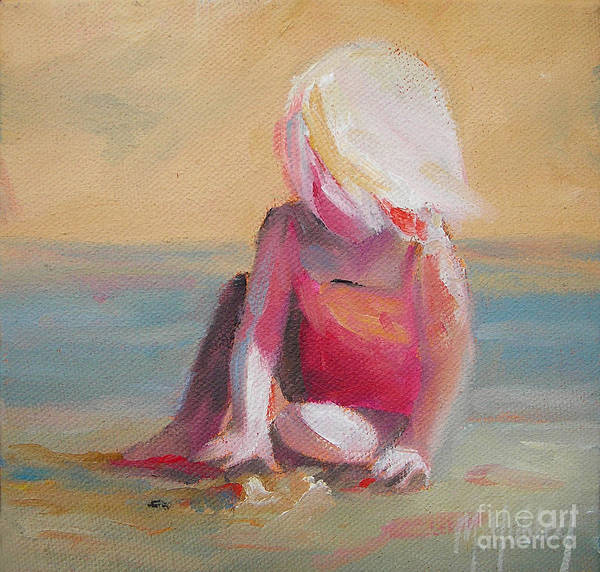 Beachy Painting - Beach Blonde Girl In The Sand by Mary Hubley