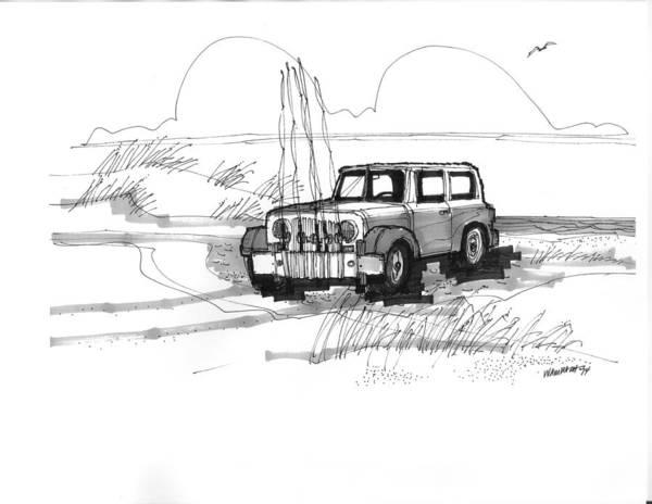 Drawing - Beach Buggy Ocracoke 1970s by Richard Wambach