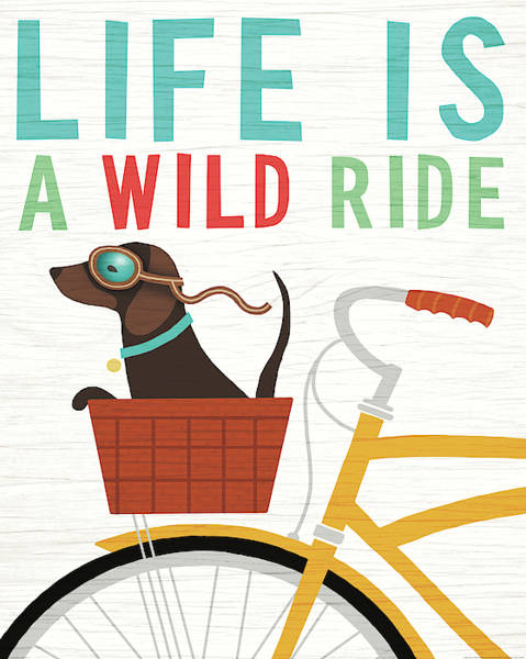 Wall Art - Painting - Beach Bums Dachshund Bicycle I Life by Michael Mullan