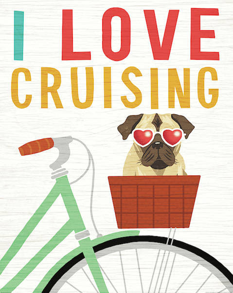 Wall Art - Painting - Beach Bums Pug Bicycle I Love by Michael Mullan