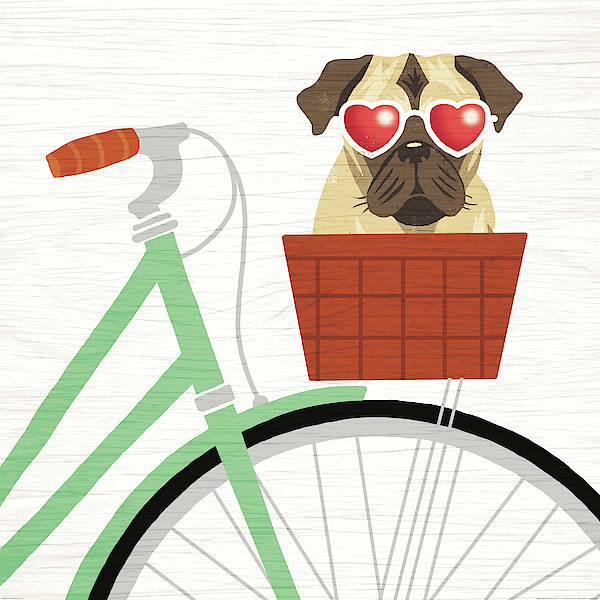 Wall Art - Painting - Beach Bums Pug Bicycle I by Michael Mullan