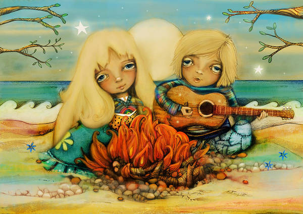Sweetheart Digital Art - Beach Campfire by Karin Taylor