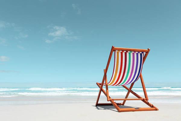 Horizontal Stripes Photograph - Beach Chair With Rainbow Stripes by John White Photos