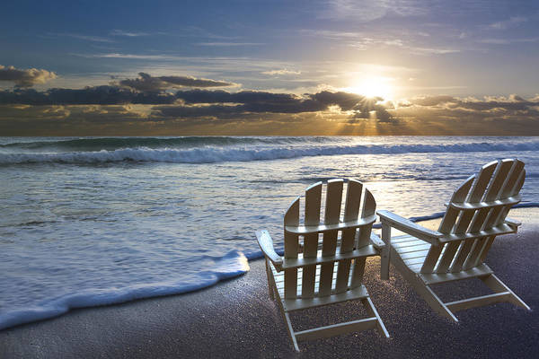 Boynton Photograph - Beach Chairs by Debra and Dave Vanderlaan