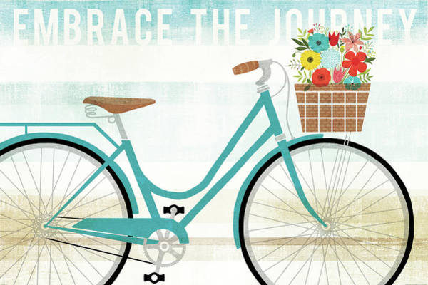 Flowers Bike Wall Art - Painting - Beach Cruiser Hers I by Michael Mullan