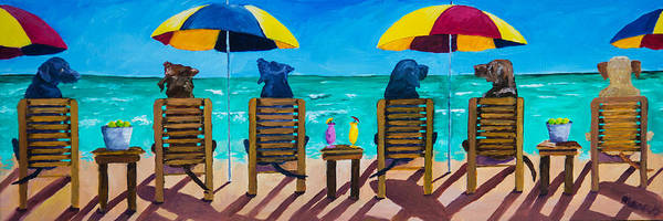 Black Beach Painting - Beach Dogs by Roger Wedegis