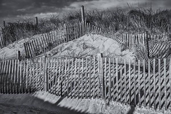 Photograph - Beach Fence Bw by Susan Candelario