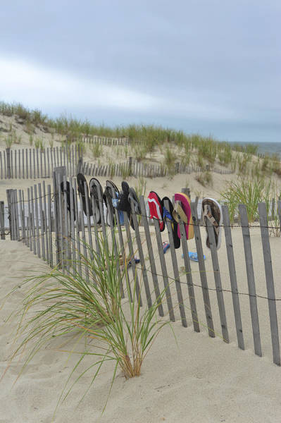 Photograph - Beach Fence Shoes Seaside Nj by Terry DeLuco