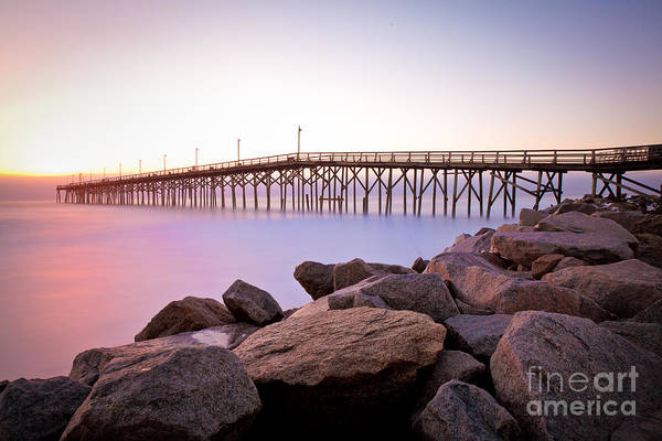 Beach Fishing Pier And Rocks At Sunrise Art Print