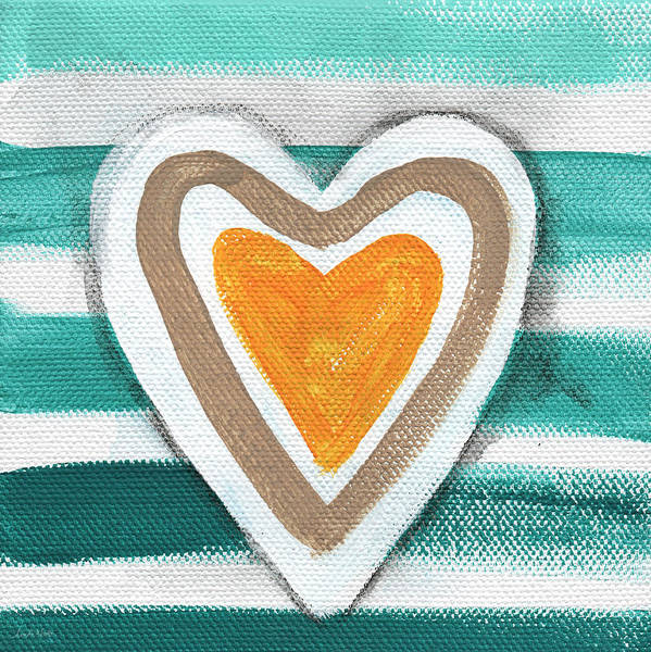 Blue Heart Wall Art - Painting - Beach Glass Hearts by Linda Woods