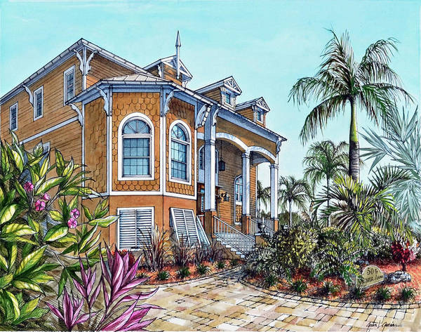 Drawing - Magnolia Beach House by Joan Garcia
