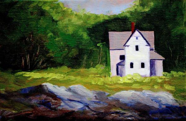 Dark Green Painting - Beach House by Nancy Merkle