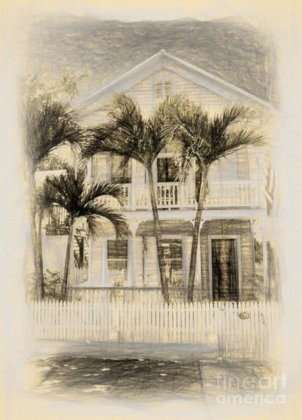 Southern Charm Digital Art - Beach House Sketch by Linda Olsen