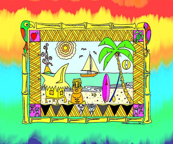 Wall Art - Drawing - Beach Hut Paradise by Aaron Bodtcher