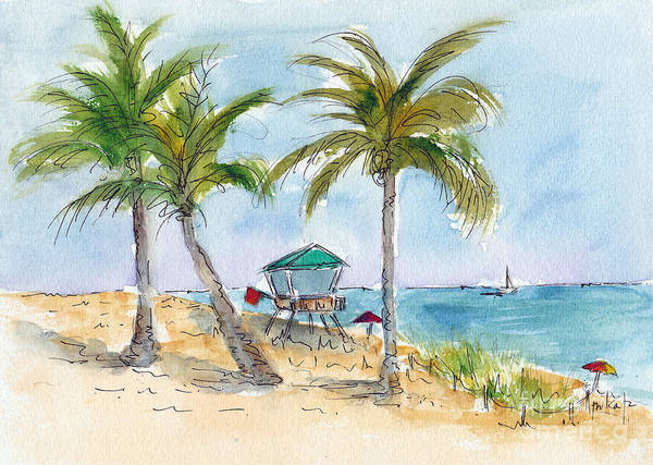 Painting - Beach In The Morning by Pat Katz