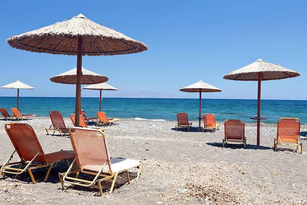 Sunshade Photograph - Beach On Santorini by Inkret