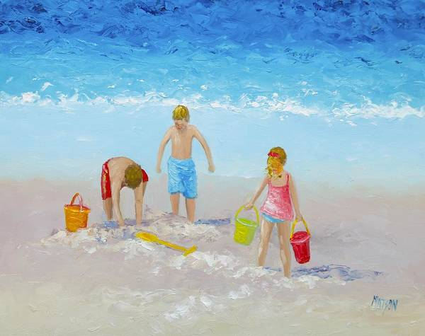Sand Castle Painting - Beach Painting - Sandcastles by Jan Matson