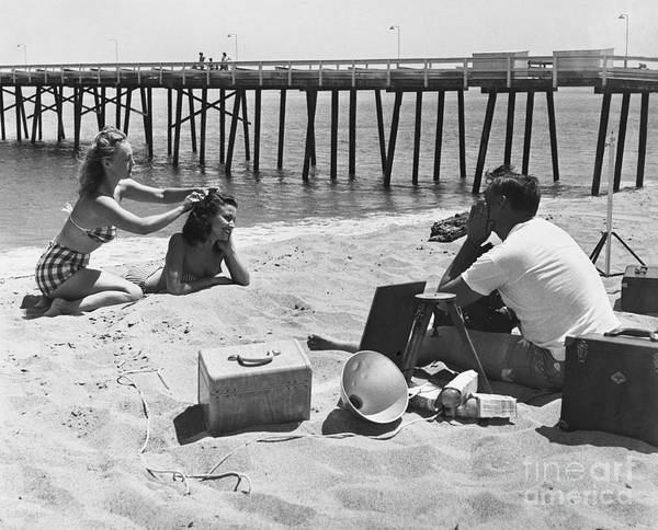 Photograph - Beach Photo Shoot 1950s by Rapho Agence