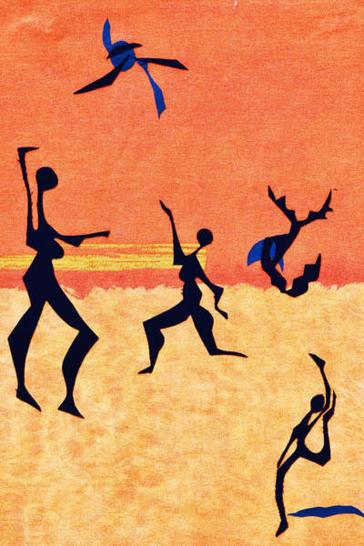 Wall Art - Tapestry - Textile - Beach Players by Ruth Yvonne Ash