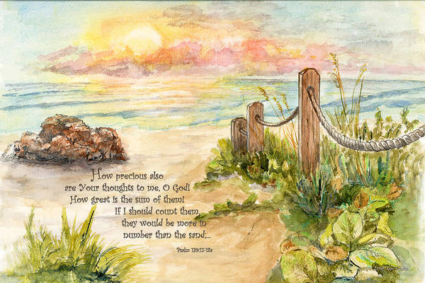 Beach Post Sunrise Psalm 139 Art Print