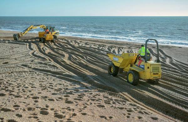 Excavator Photograph - Beach Repair by Robert Brook