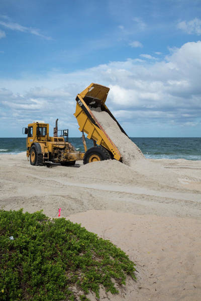 Dump Truck Photograph - Beach Restoration Project by Jim West/science Photo Library