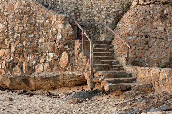 Monterey Bay Photograph - Beach Stairs by Art Block Collections