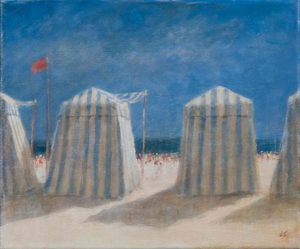 Wall Art - Photograph - Beach Tents, Brittany, 2012 Acrylic On Canvas by Lincoln Seligman