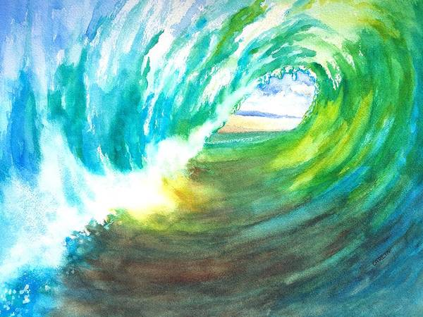 Painting - Beach View From Wave Barrel by Carlin Blahnik CarlinArtWatercolor