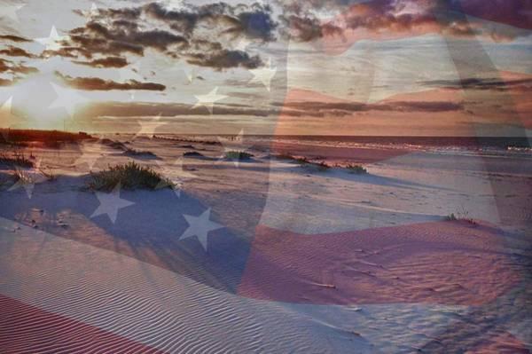 Digital Art - Beach With Flag by Michael Thomas