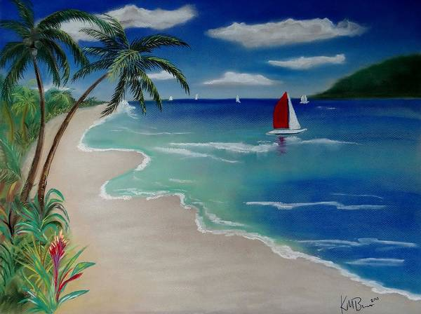Beach With Sailboat Art Print