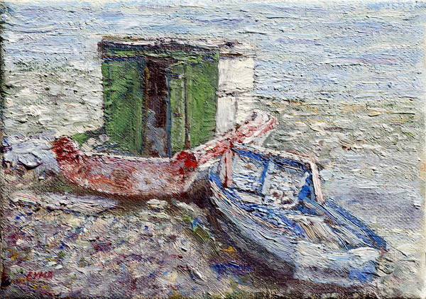 Painting - Beached Boats by Ritchie Eyma