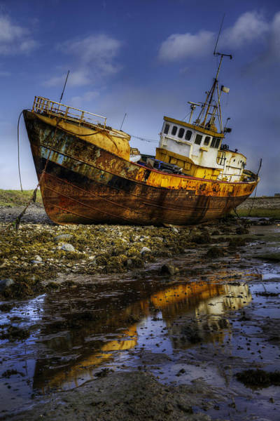 Photograph - Beached Fishing Trawler Reflecting While Waiting For The Tide by Dennis Dame