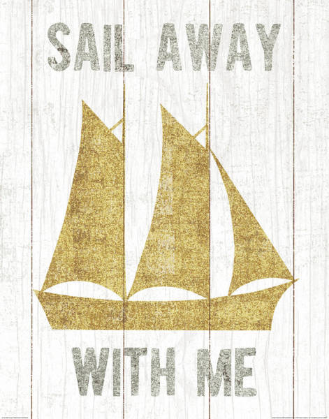 Metallic Painting - Beachscape V Boat Quote Gold Neutral by Michael Mullan