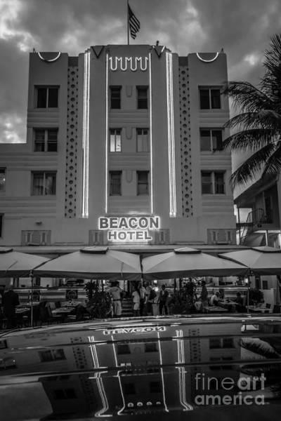 Wall Art - Photograph - Beacon Hotel Art Deco District Sobe Miami - Black And White by Ian Monk