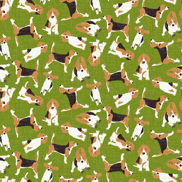 Holiday Drawing - Beagle Scatter Green by MGL Meiklejohn Graphics Licensing