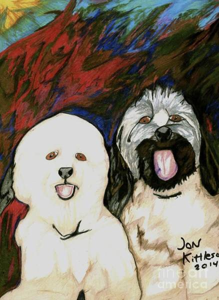 Drawing - Beamer And Bentley by Jon Kittleson