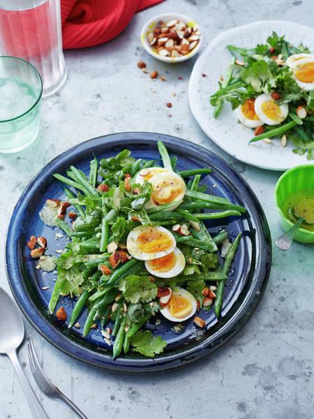 Blue Spoon Photograph - Bean, Coriander, Egg And Almond Salad by Brett Stevens