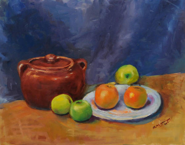 Russian Impressionism Wall Art - Painting - Bean Pot And Fruit by Susie Jernigan