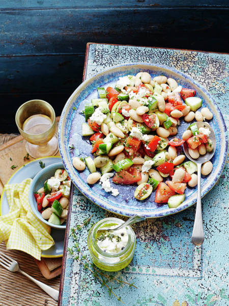 Salad Dressing Photograph - Bean, Tomato And Goats Cheese Salad by Brett Stevens