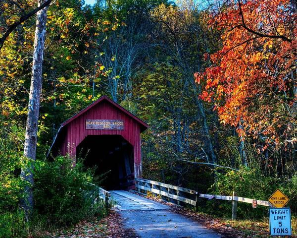 Photograph - Beanblossom Covered Bridge by Walt Sterneman