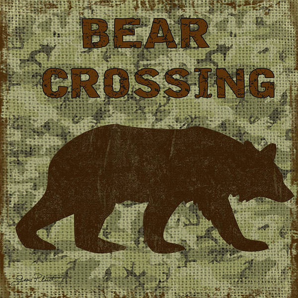 Burlap Painting - Bear Crossing by Jean Plout
