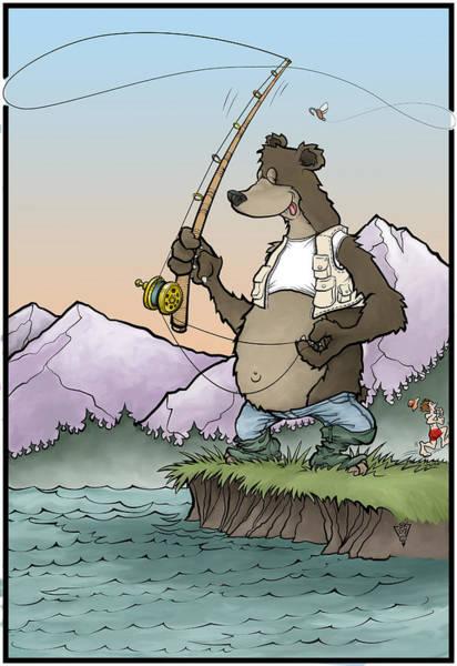 Fishing Pole Digital Art - Bear Essentials Of Fly Fishing by Brian Knowlton