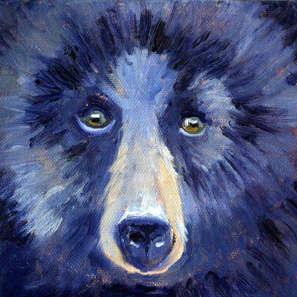 Wall Art - Painting - Bear Face by Nancy Merkle