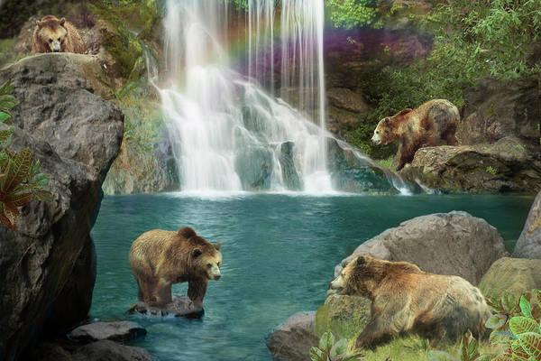 Bear Drawing - Bear Falls by MGL Meiklejohn Graphics Licensing