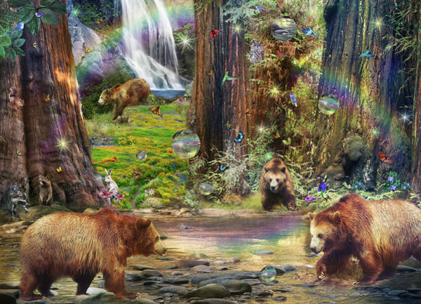 Wall Art - Drawing - Bear Forest Magical 2 by MGL Meiklejohn Graphics Licensing